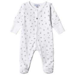 Absorba White Milk Bottle Print Babygrow With Integrated Mittens