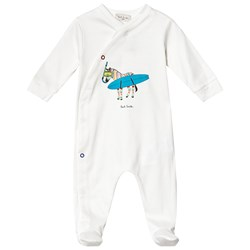 Paul Smith Junior White Surfing Zebra Print Jersey Footed Baby Body