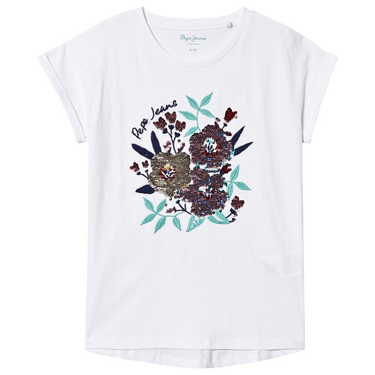 Pepe Jeans Vera Sequin Floral Branded Tee Optic White 802