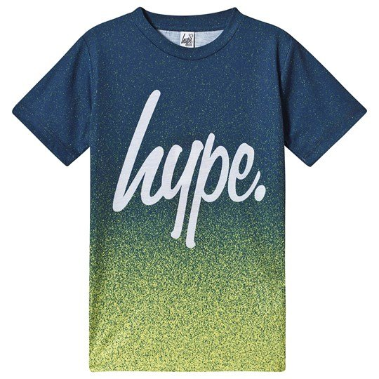 Hype Speckle Fade T-Shirt Green and Black Navy/Lime Green