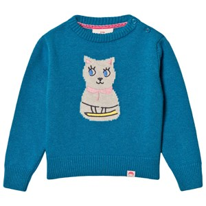 Image of Tootsa MacGinty Etsuko Cat Knit Sweater Teal 0-6 months (3125304951)