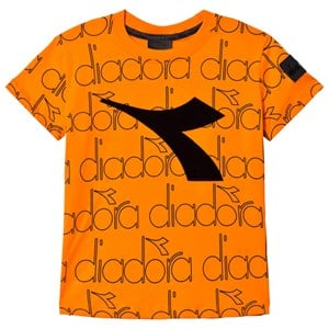 Image of Diadora Orange & Sort Logo T- Shirt S (8 years) (1115230)