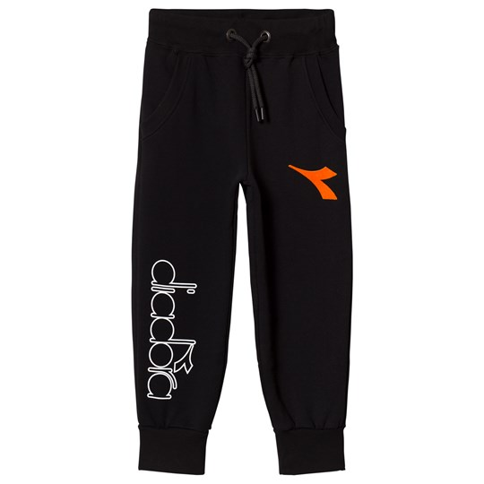 Diadora Black Branded and Orange Flocked Logo Sweatpants 110
