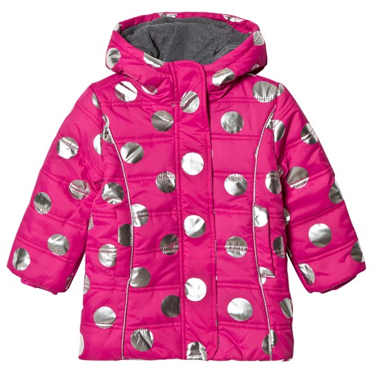 Hatley Metallic Dots Puffer Coat Pink Navy