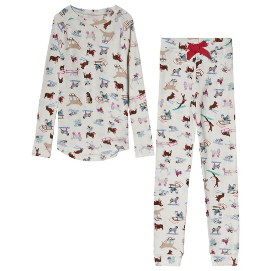 Tom Joule Cream Skiing Dogs Print Pajamas SKIING DOGS