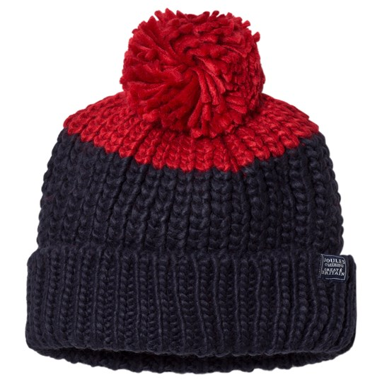 Tom Joule Navy & Red Pom-Pom Knitted Bobble Hat NAVY DINO