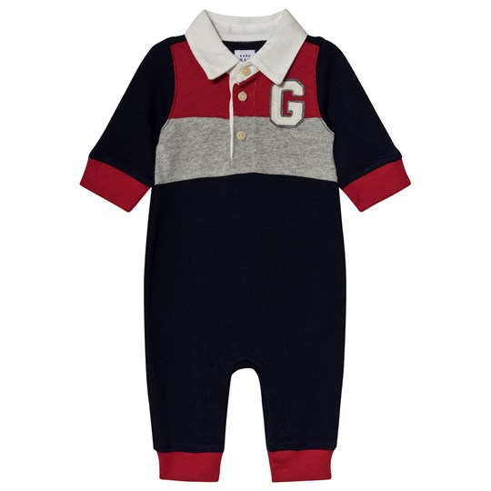 GAP Navy & Red Colorblock Baby One-Piece NAVY UNIFORM
