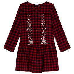 GAP Berry Red Plaid Embroidered Dress