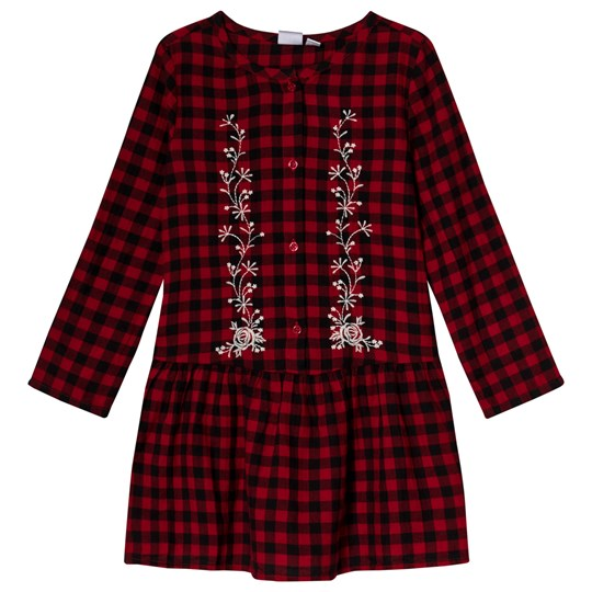 GAP Berry Red Plaid Embroidered Dress Red Plaid