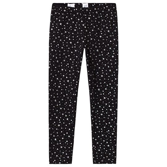GAP Black Star and Heart Leggings Silver Star