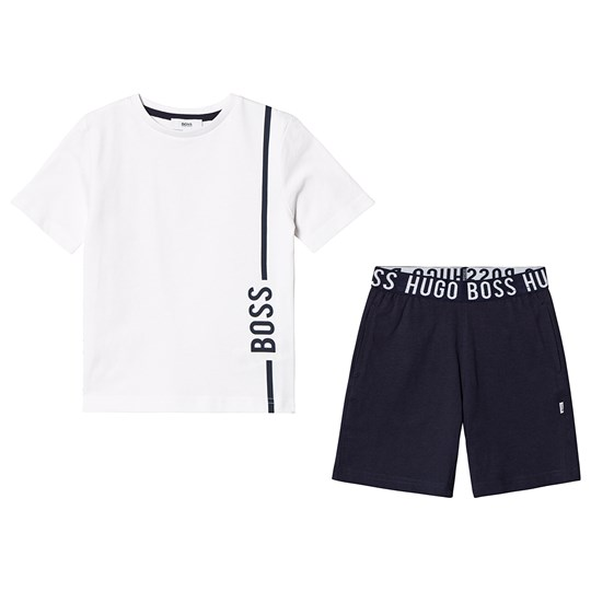 BOSS White and Navy Tee and Shorts N68