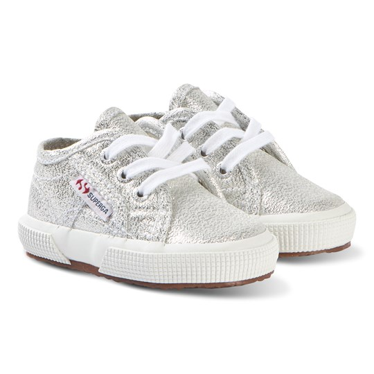Superga Silver Metallic LameB Infants Shoes 031 SILVER