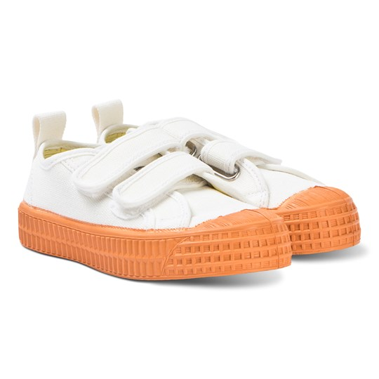 Novesta White and Orange Star Master Velcro Kid Trainers WHITE/ORANGE