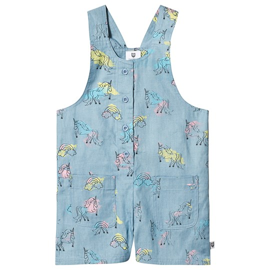 Hootkid Unicorn Strap Romper Blue Multi Ice Blue Unicron Chambray
