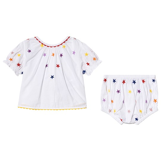 Stella McCartney Kids White Multicolor Stars All Over Print Blouse and Bloomers Set 9094 - Embr Multicol Stars