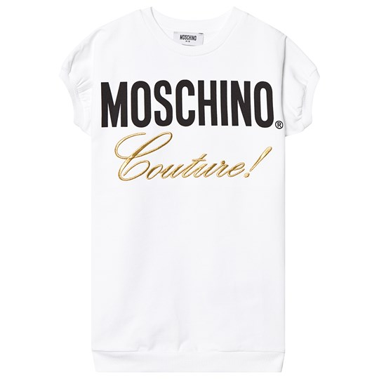 Moschino Kid-Teen White Moschino Couture Embroidered Sweat Dress 10101