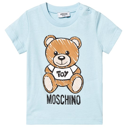 Moschino Kid-Teen Pale Blue Bear Print Tee 40304