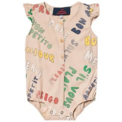The Animals Observatory Butterfly Babies Romper Toasted Almond Words