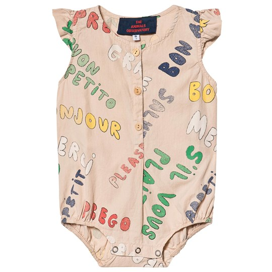 The Animals Observatory Butterfly Babies Romper Toasted Almond Words Toasted Almond Words