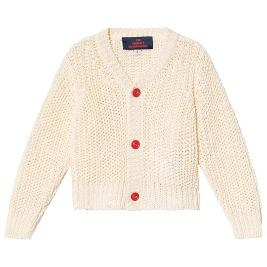 The Animals Observatory Plain Raccoon Kids Cardigan Raw White Raw White