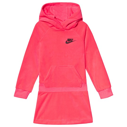 NIKE Velour Hooded Dress Hot Pink A4F
