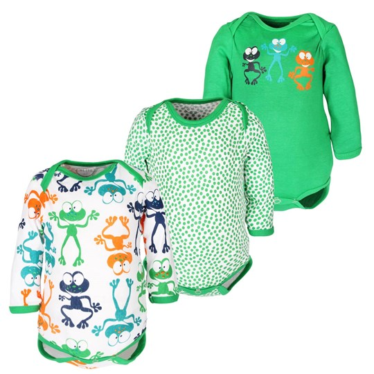 Me Too 3 pack Baby LS Body Boy Green Grey
