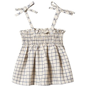 Image of Oeuf Check Tie Strap Top Beige/Blue 12 mdr (3125356795)