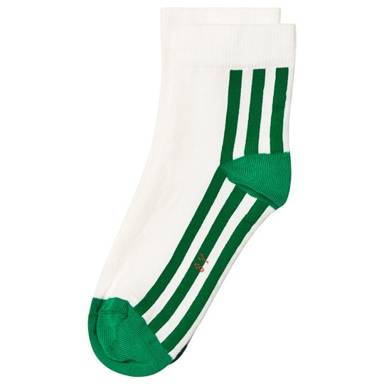 Tinycottons Stripes Quarter Socks Off White/Green Off-White/Green