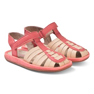 Image of Camper Coral and Tan Leather Bicho Sandals 25 (UK 7.5) (3125318789)