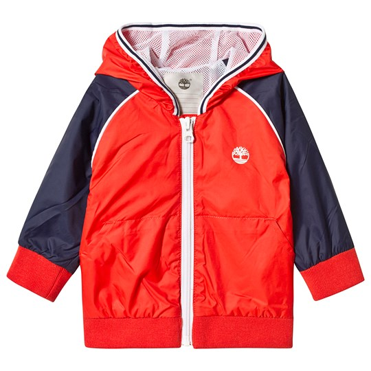 Timberland Orange and Navy Logo Windbreaker 42B