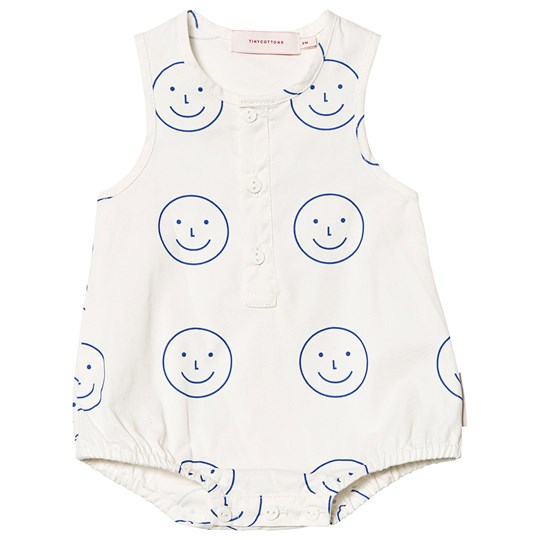 Tinycottons Happy Face Romper Off White/Ultramarine off-white/ultramarine