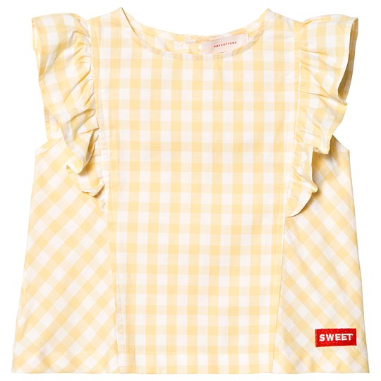 Tinycottons Check Ruffles Blouse Off White/Canary off-white/canary