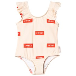 Tinycottons Sweet Frills Swimsuit Cream/Red