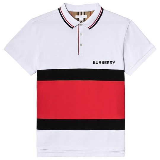 Burberry White Colour Block Branded Polo A1464