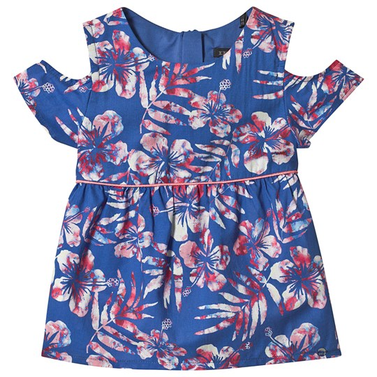 IKKS Blue Hawaiian Flower Print Cold Shoulder Blouse 52