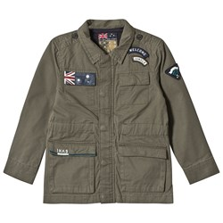 IKKS Khaki Applique Badge and Pocket Detail Coat