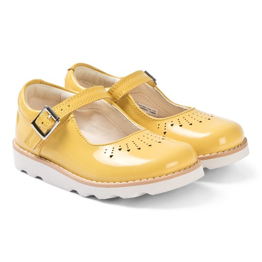Clarks Crown Jump Mary Janes Yellow Patent Yellow Patent Leather