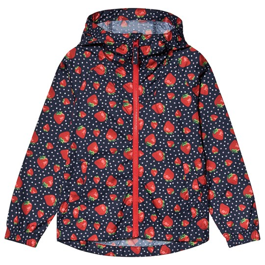 Lands' End Navy Strawberry Print Packaway Rain Jacket I16
