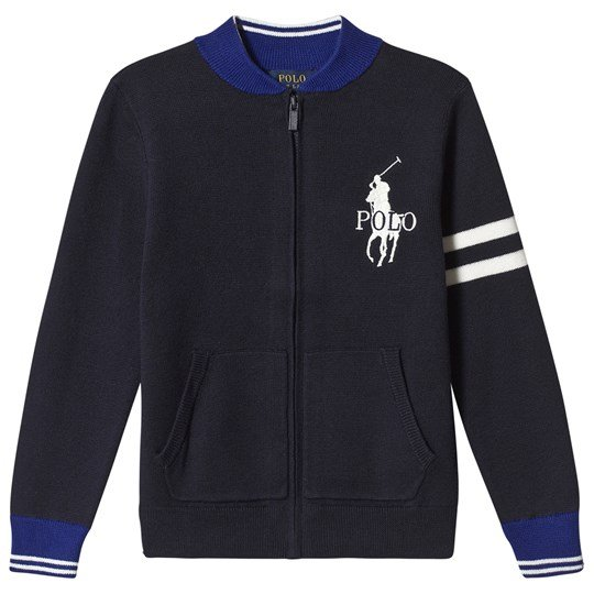 Ralph Lauren Navy and Blue Zip Through Knit Cardigan with Big PP 001