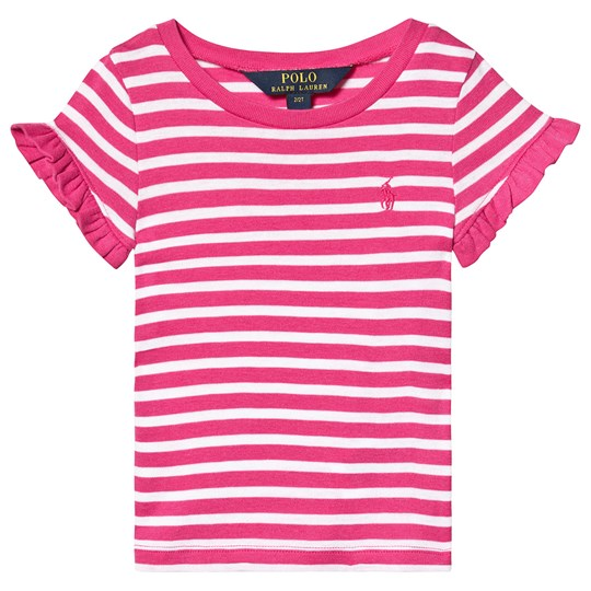 Ralph Lauren Pink and White Stripe Tee with Small PP 001