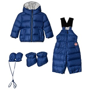 Image of Colmar Blue with Silver Lining Padded Down Snowsuit Set 12 months (1096294)