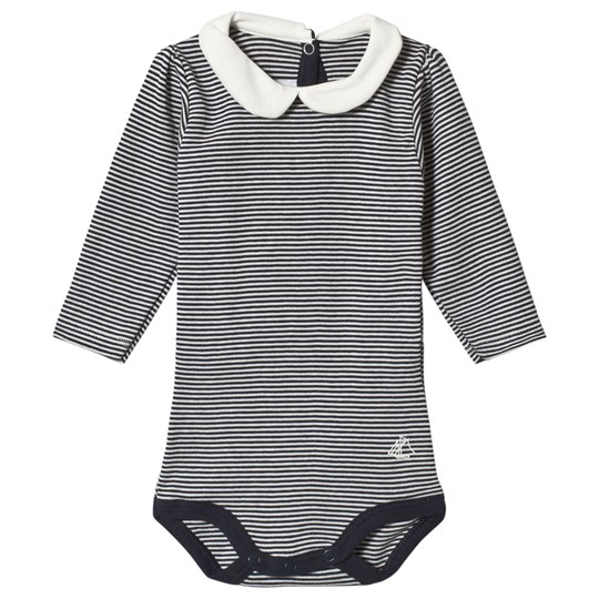Petit Bateau Striped Baby Body Navy/Off-White Blue/Off-White