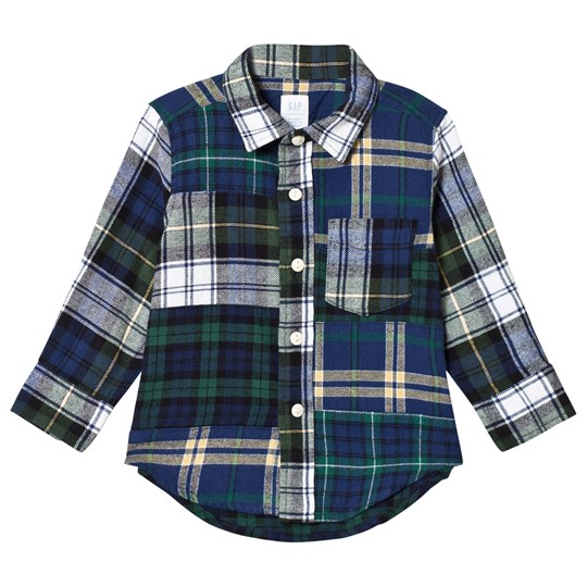 GAP Dutch Blue Check Patchwork Shirt DUTCH BLUE