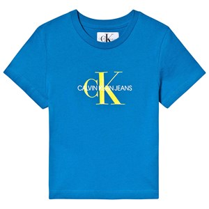 Image of Calvin Klein Jeans Blue and Yellow Monogram Logo Tee 12 years (1221030)