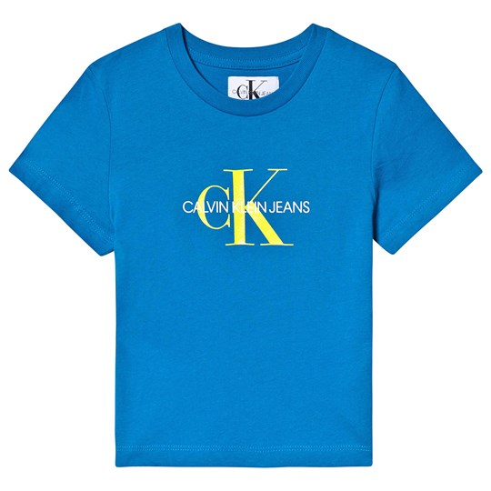 Calvin Klein Jeans Blue and Yellow Monogram Logo Tee 404