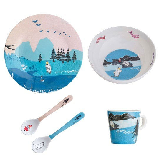 Muumit Forest & Lake Moomin Dinner Set Blue Blå, multi