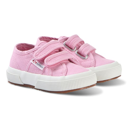 Superga Bright Pink CotJStrap Velcro Classic Canvas Shoes V28 BEGONIA PINK