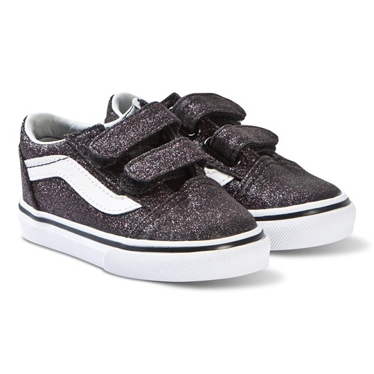 Vans Black Glitter Stars Old Skool V Velcro Shoes (Glitter Stars) black/true white