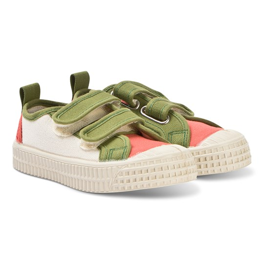 Novesta Green and Orange Star Master Velcro Kid Trainers 99BEIGE/82 APRICOT