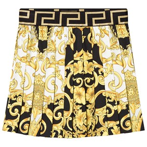 Image of Versace Baroque Pleated Skirt Black and Gold 4 years (3132748401)